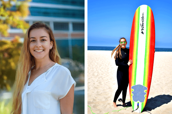 Picture of Katherine in front of the Garden of Hope next to a picture of her at the beach with her surfboard.