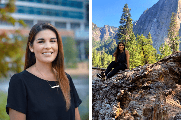 Picture of Kaitlyn in front of the Garden of Hope next to a picture of her on top of a rock in national park.