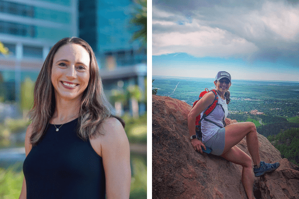 Headshot of Lindsey at the Garden of Hope next to a picture of her sitting on top of a rock overlooking a valley.