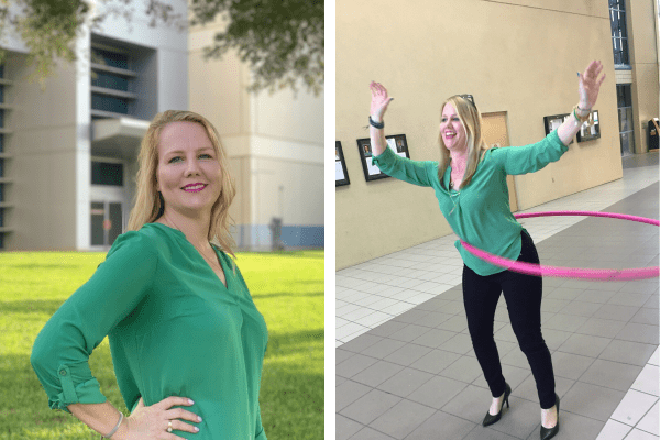 Headshot of Kelley next to a picture of her hula hooping.